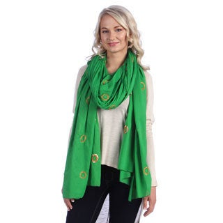 Green Sequin Flowers Cotton Shawl