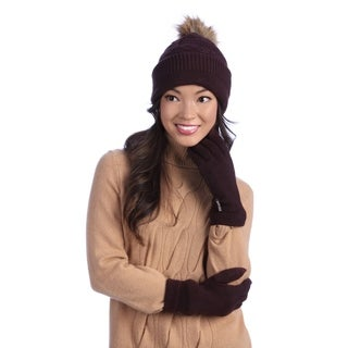 Muk Luks Women's Eggplant Beanie and Texting Gloves Set