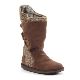 Muk Luks Women's 'Luna' Brown Buckled Knit Combo Boots