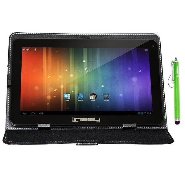 LINSAY 10.1'' Tablet Bundle with Blended Leather Case and Stylus