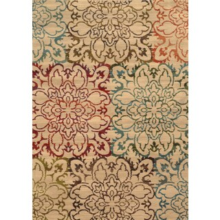 Oversized Floral Ivory/ Multi Rug (3'10 x 5'5)