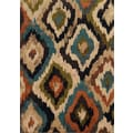 Bold Ikat Blue/ Brown Polypropylene Rug (1'10 x 3'3)