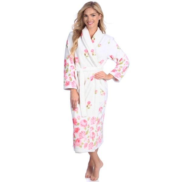 Jasmine Rose Women's Printed Royal Plush 48-inch Robe