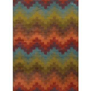 Geometric Chevron Multi/ Orange Rug (1'10 x 3'3)