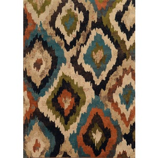 Bold Ikat Blue/ Brown Polypropylene Rug (7'10 x 10')