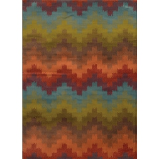 Geometric Chevron Multi/ Orange Rug (6'7 x 9'6)