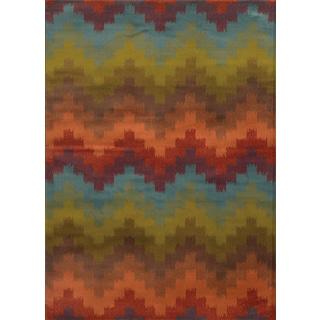 Geometric Chevron Multi/ Orange Rug (7'10 x 10')