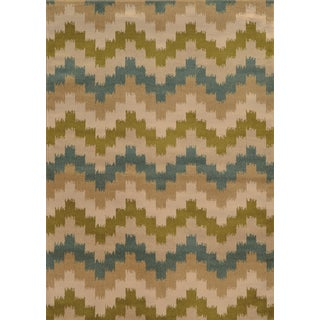 Geometric Chevron Blue/ Green Rug (6'7 x 9'6)