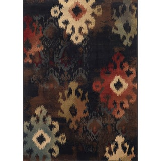 Tribal Ikat Black/ Brown Rug (5'3 x 7'6)