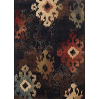 Tribal Ikat Black/ Brown Rug (5'3 x 7'6)