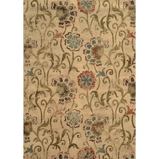 Faded Floral Ivory/ Green Rug (10' x 13')
