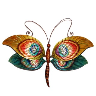 Hand-painted Peacock Dragonfly Wall Art (Philippines)
