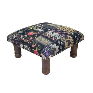 Black Maurya Patchwork Footstool (India)