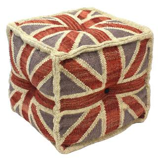 Light Blue/ Red Wool and Jute Square Pouf Ottoman (India)