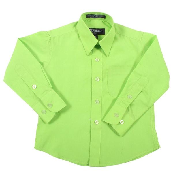 Ferrecci Boys Slim Fit Green Collared Formal Shirt