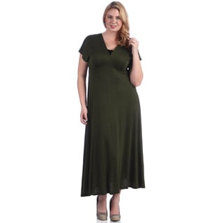 24/7 Comfort Apparel Women's Plus Faux Wrap Maxi Dress