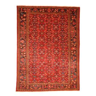 Persian Hand-knotted Mahal Red/ Navy Wool Rug (8'6 x 11'7)