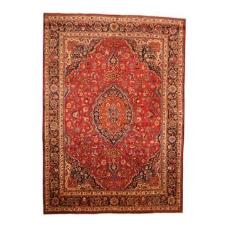 Persian Hand-knotted Mashad Red/ Navy Wool Rug (9'7 x 13'7)