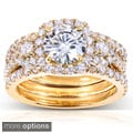 14k Gold Round Moissanite and 1 1/3 ct TDW Diamond 3-piece Bridal Ring Set (G-H, I1-I2)