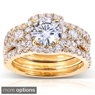 Annello 14k Gold Round Moissanite and 1 1/3 ct TDW Diamond 3-piece Bridal Ring Set (G-H, I1-I2)
