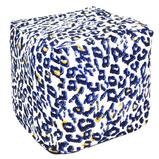 Handcrafted Blue and White Animal Print Pouf Ottoman (India)