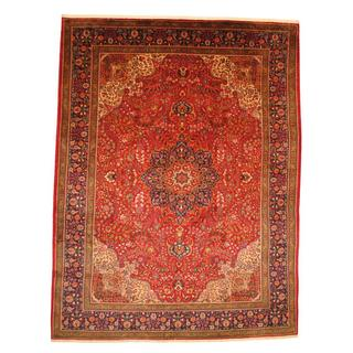 Persian Hand-knotted Tabriz Red/ Navy Wool Rug (9'9 x 12'8)