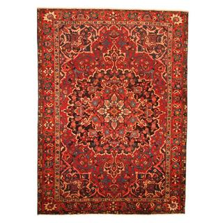 Antique 1960's Persian Hand-knotted Tribal Bakhtiari Red/ Navy Wool Rug (9' x 12'6)