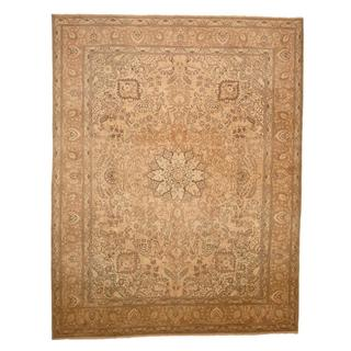 Antique 1920's Persian Hand-knotted Tabriz Ivory/ Light Green Wool Rug (9'10 x 12'8)