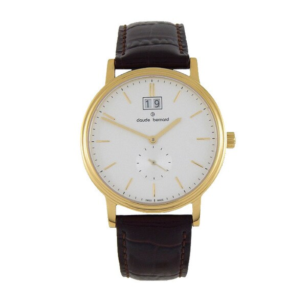 Claude Bernard Men's 64010 37J-AID Classic Gents Goldtoned Leather Strap Watch