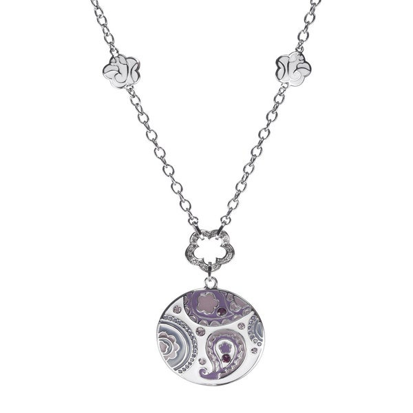 Silvertone Purple Crystal Paisley Necklace