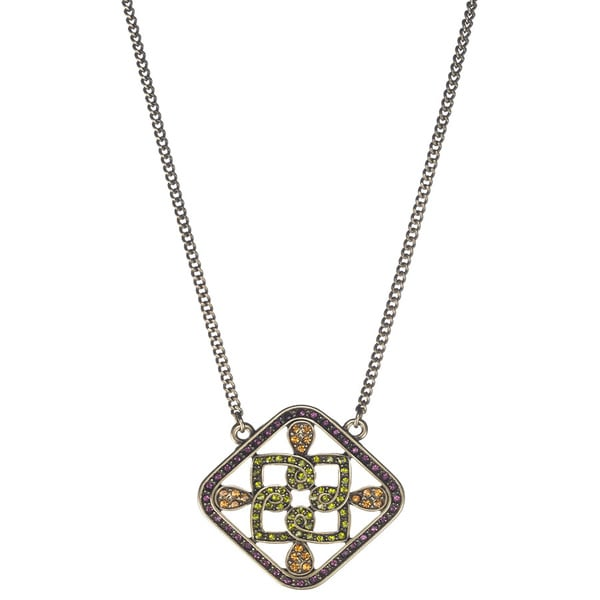 Bronzetone Multi-colored Crystal Celtic-inspired Necklace