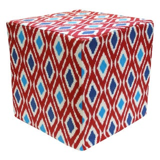 Handcrafted Geo Pouf Ottoman (India)