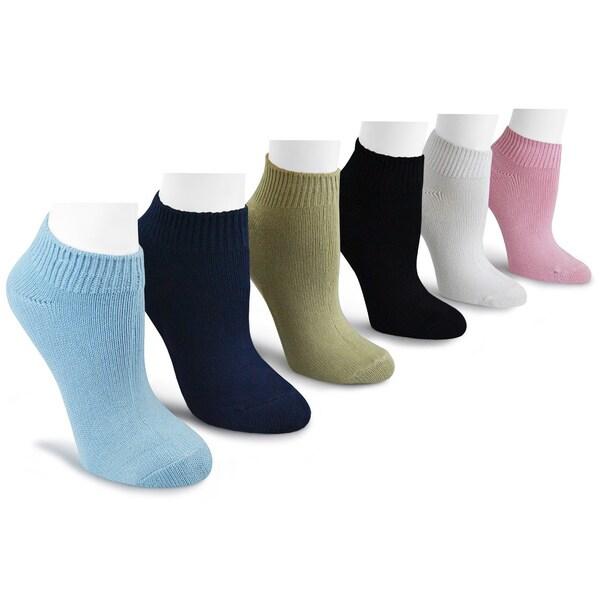 MUK LUKS Women's 6 Pair Pack Rayon from Bamboo No Show Socks