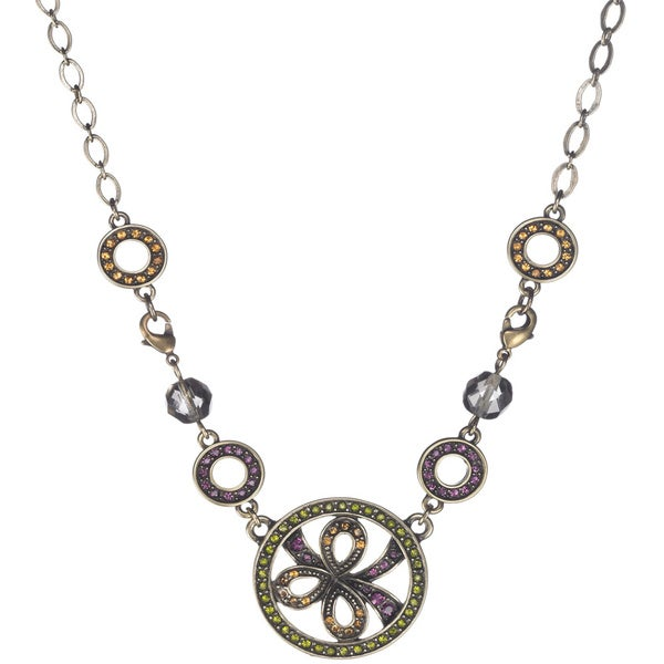 Bronzetone Multi-colored Crystal Vintage-inspired Floral Necklace