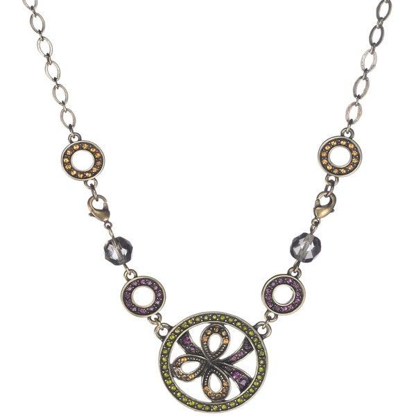 Bronzetone Multi-colored Crystal Vintage-inspired Floral Necklace