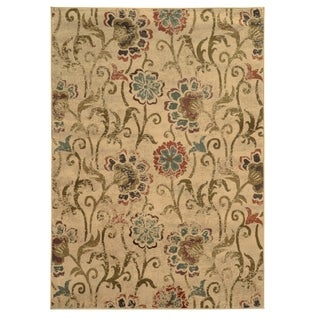 Faded Floral Ivory/ Green Polypropylene Rug (3'10 x 5'5)