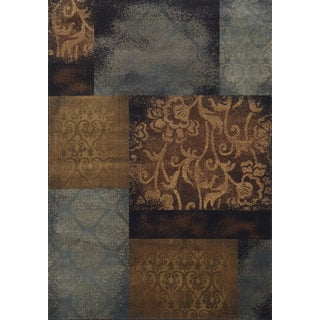 Block Stamped Blue/ Brown Polypropylene Rug (1'10 x 3'3)