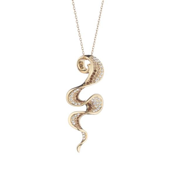 Goldtone Crystal-encrusted Falling Ribbon Necklace