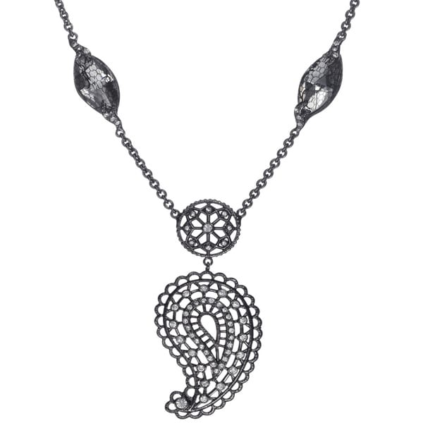 Gunmetal Clear Crystal, Glass and Resin Lace Paisley Necklace