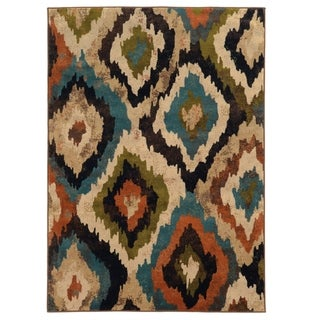 Bold Ikat Blue/ Brown Polypropylene Rug (5' x 7'6)