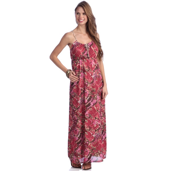 Women's Pink and Red Abstract Print Maxi Dress