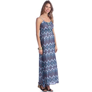 Women's Blue Zig-zag Printed Maxi Dress