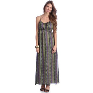 Women's Green and Purple Printed Maxi Dress