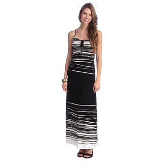 Women's Black and White Striped Maxi Dress
