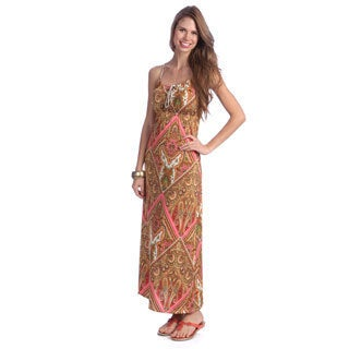 Women's Beige/ Pink Paisley Printed Maxi Dress
