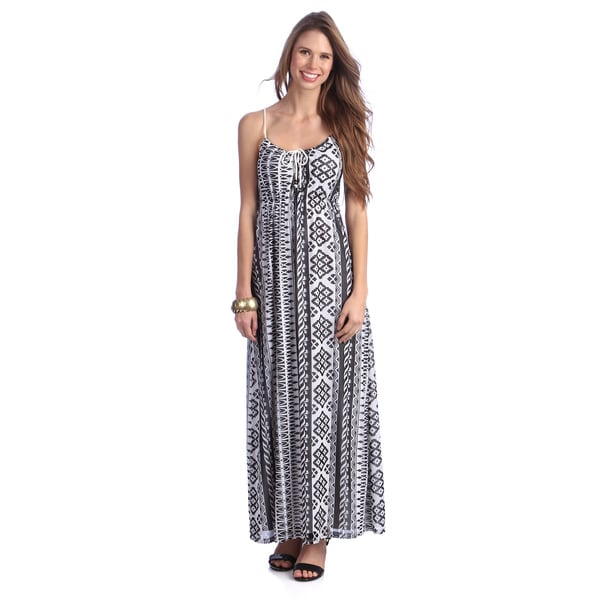 Women's Black/ White Tropical Print Maxi Dress