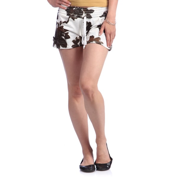 Floral Black and White Shorts with Elastic Waistband