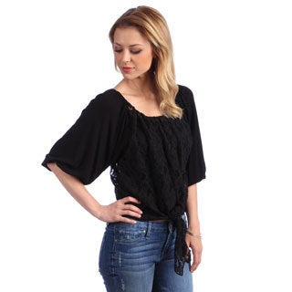 Women's Black Lace Top with Tie Front Hem