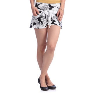 Women's White and Black Printed with Elastic Waistband and Epoulette Tabs Shorts
