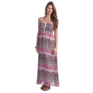 Women's Purple Zig-zag Printed Maxi Dress